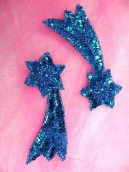 """FS652 Shooting Star Appliques Turquoise Mirror Pair Beaded Sequin 4"""""""