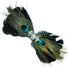 E4240 Peacock Rhinestone Feather Brooch Clip Applique