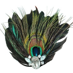 E4243 Peacock Rhinestone Feather Brooch Clip Applique