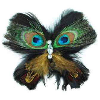 E4244 Peacock Rhinestone Feather Brooch Clip Applique