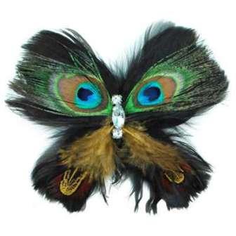 E4244 Peacock Rhinestone Feather Brooch Clip Applique