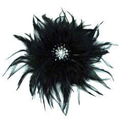 E4246  Black Rhinestone Feather Brooch 9&quot;
