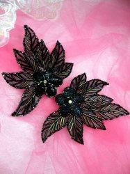 "FS1020 Green Iris Flower Mirror Pair Beaded Sequin Appliques 4.5"""