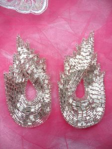FS1143X Silver Mirror Pair Flame Beaded Appliques 4.75""