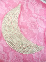 FS1210 White Moon Pearl Beaded Applique Patch Motif  4""
