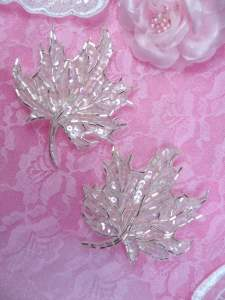 FS1337 Crystal Iris Leaf Mirror Pair Silver Beaded Sequin Appliques 3.75""