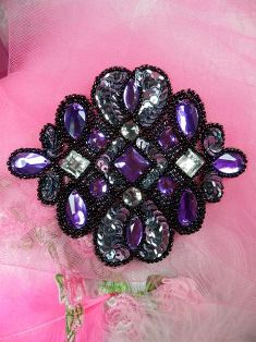 FS143 Purple Black Beaded Jewel Sequin Applique 4.5""