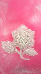 FS177 Crystal Iris Pearl Rose Beaded Applique 3.75""