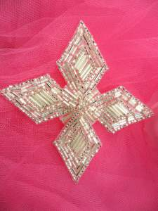 """FS182 Silver Beaded Applique Patch 3.5"""""""