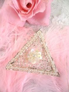 """FSV189 Silver Pearl Triangle Sequin Beaded Applique 2.75"""""""