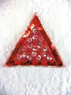 "FSV190 Red Triangle Beaded Sequin Applique 3"""