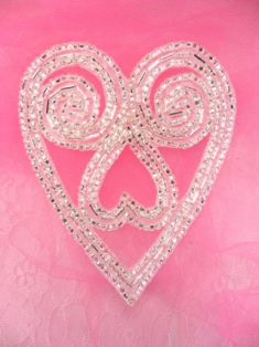FS211AB Silver Heart Beaded Applique 4.25""