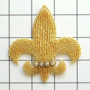 "FS2240 Fleur de Leis Rhinestone Gold Beaded Applique 3.25"""