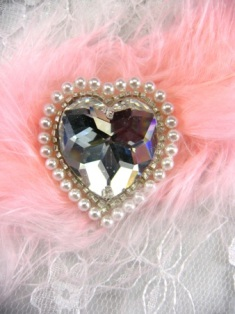 FS2358 Heart Silver Pearl Glass Rhinestone Beaded Applique 1""