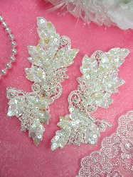 FS2643x Crystal Iris Pearl  Appliques Venice Lace Floral Sequin Beaded Mirror Pair 5""