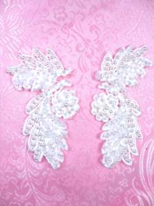 FS2644 White Satin Pearl Appliques Venice Lace Floral Beaded Mirror Pair 4""