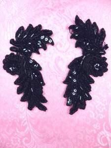 "FS2644 Black Appliques Venice Lace Floral Beaded Mirror Pair 4"""