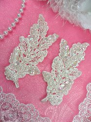 FS2667x Crystal Iris Pearl Leaf Appliques Venice Lace Floral Sequin Beaded Mirror Pair 4""