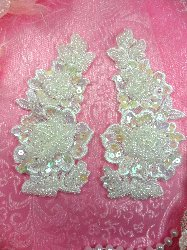 FS2668x Crystal Iris Pearl  Appliques Venice Lace Floral Sequin Beaded Mirror Pair 4""