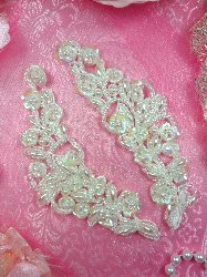 FS2670x Satin Pearl Appliques Venice Lace Floral Beaded Mirror Pair 5""