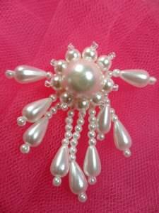 FS2916 White Pearl Dangle Beaded Applique