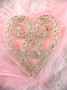 FS30 Silver Heart Beaded Applique 2.25""
