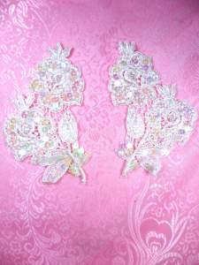 FS3228 Crystal Iris Pearl Appliques Venice Lace Floral Beaded Mirror Pair 4""