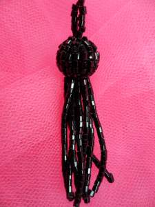 FS3239 Black Beaded Tassel DIY Home Decor 2""