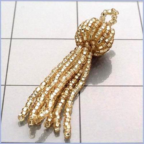 FS3239 Gold Beaded Tassel DIY Home Decor 2""