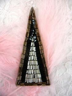 "RMFS3307 REDUCED Bronze Black Triangle Sequin Beaded Applique 3"""