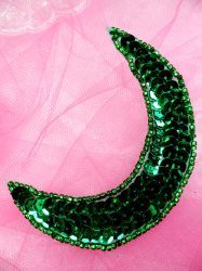 FS3379 Moon Green Applique Sequin Beaded Patch 3.5""