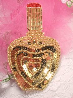 FS3446 Gold Perfume Bottle Beaded Sequin Applique 4.25""