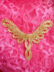 FS354 Gold Beaded Collar Applique 5.5""
