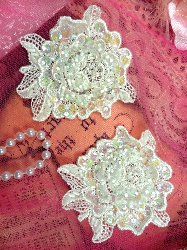 FS3741x Crystal Iris Pearl Appliques Venice Lace Floral Sequin Beaded Mirror Pair 3""