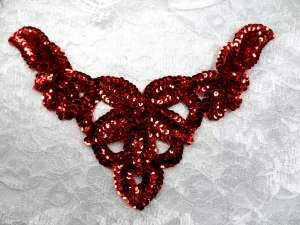 FS398B Red Collar Sequin Applique 8.5""