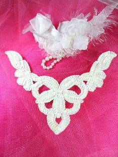 FS398B  White AB Collar Sequin Applique 8.5""