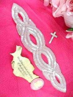 FS400 Crystal AB Silver Designer Sequin Beaded Applique 11""