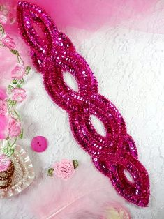 FS400 Fuchsia Designer Sequin Beaded Applique 11""