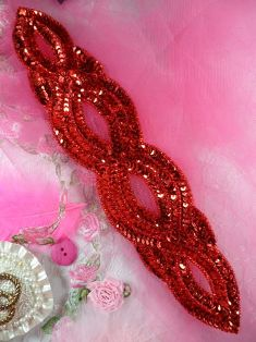 FS400 Red Designer Sequin Beaded Applique 11""