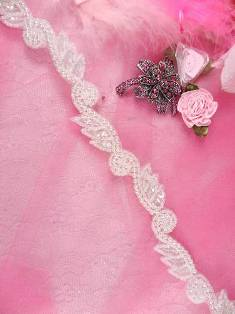 FS4439 Crystal AB Leaf and Pearl Vine Sequin Beaded Trim 5/8""