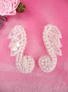 AFS4439 Crystal AB Leaf and Pearl Vine Mirror Pair Sequin Beaded Appliques 1 3/4""