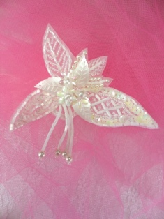 FS457 White AB Leaf Dangle Beaded Sequin Applique 3""