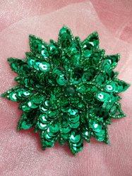 "FS474 Green Floral Beaded Sequin Applique 3"""