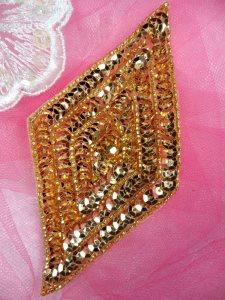 "FS475L Gold Diamond Sequin Beaded Applique 5"""