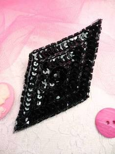 FS475L Black Diamond Beaded Sequin Applique 5""