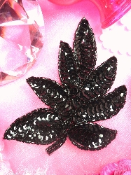 FS476 Black Beaded Sequin Applique 4""