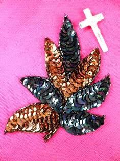 """FS476 Bronze Combo Leaf Sequin Beaded Applique 4"""""""