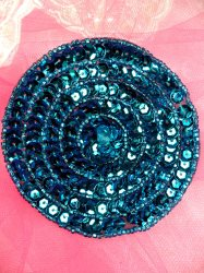 """FS479 Round Circle Turquoise Applique Sequin Beaded Patch 3.5"""""""