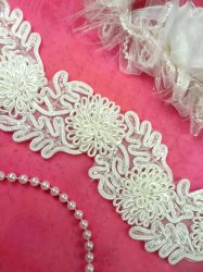 FS4796 White Beaded Bridal Sash Trim 3D Floral Vine 2.25""