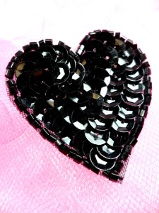 FS510 Black Valentine Heart Sequin Beaded Applique 1.5""